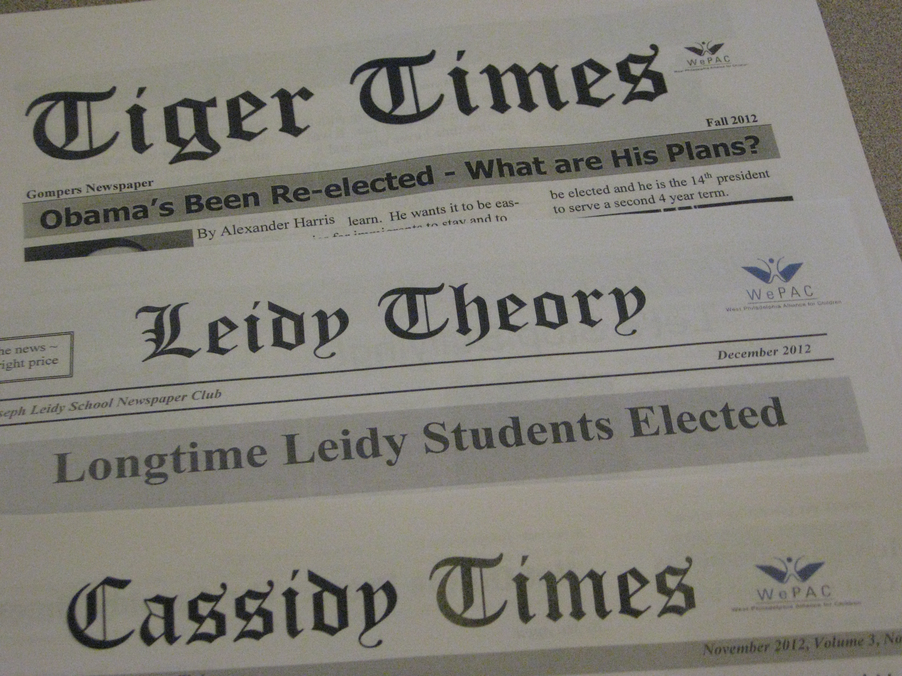 Fall 2012 Newspapers